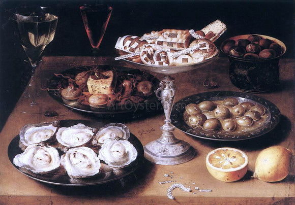 Osias Beert Still-Life with Oysters and Pastries - Canvas Art Print