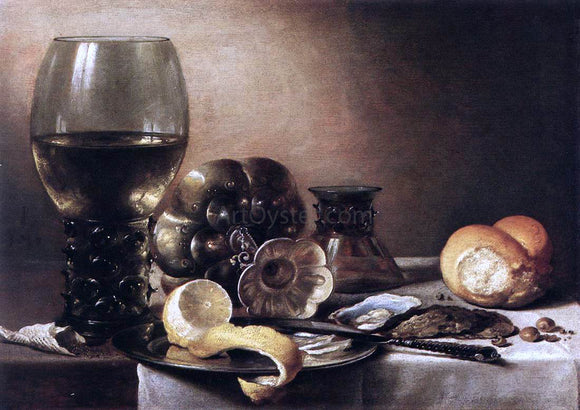 Pieter Claesz Still-Life with Oysters - Canvas Art Print