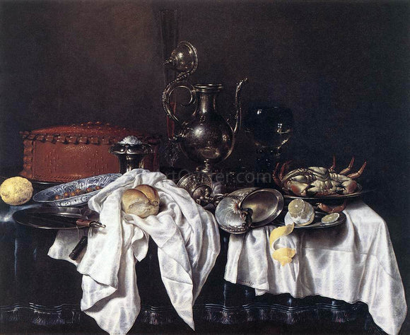 Willem Claesz Heda Still-Life with Pie, Silver Ewer and Crab - Canvas Art Print