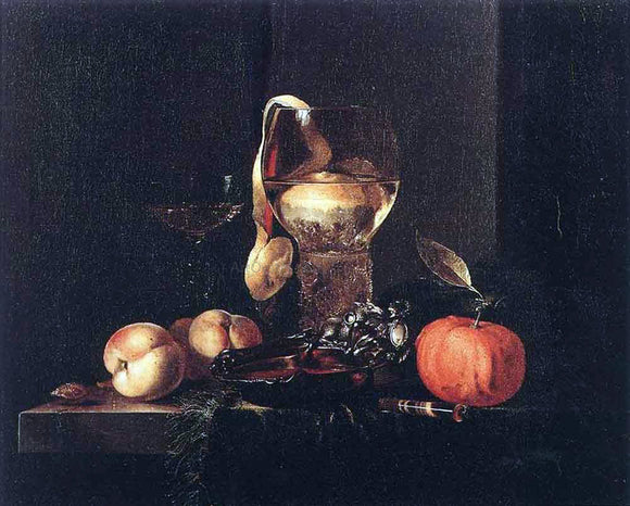 Willem Kalf Still-Life with Silver Bowl, Glasses, and Fruit - Canvas Art Print