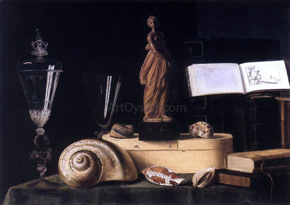 Sebastien Stoskopff Still-Life with Statuette and Shells - Canvas Art Print
