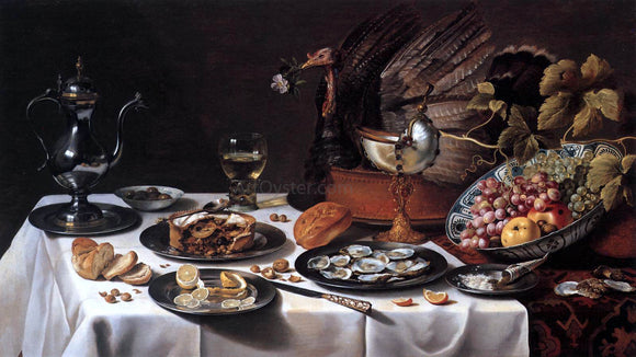 Pieter Claesz Still-Life with Turkey-Pie - Canvas Art Print