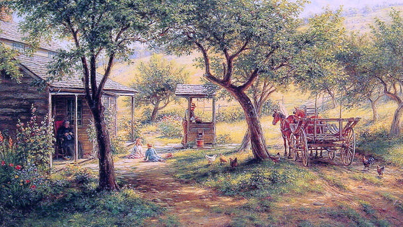Edward Lamson Henry Stopping to Water His Horses - Canvas Art Print
