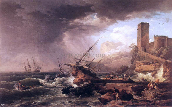 Claude-Joseph Vernet Storm with a Shipwreck - Canvas Art Print