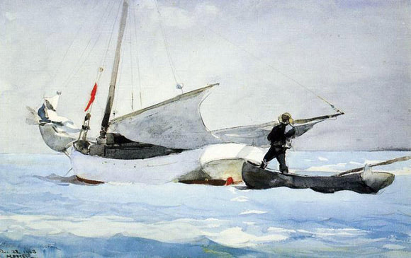 Winslow Homer Stowing the Sail - Canvas Art Print