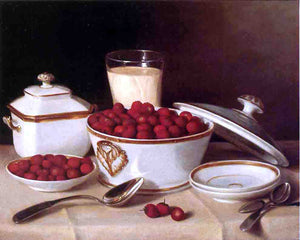 John F Francis Strawberries and Cream - Canvas Art Print
