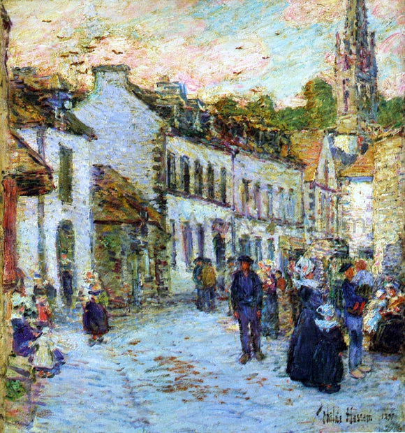 Frederick Childe Hassam Street in Pont Aven - Evening - Canvas Art Print