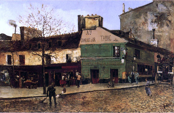 Frank Myers Boggs Street Scene in Paris - Canvas Art Print