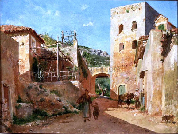 Jean-Louis Ernest Meissonier Street Scene near Antibes - Canvas Art Print