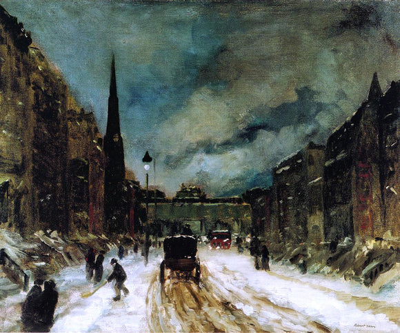 Robert Henri Street Scene with Snow - Canvas Art Print