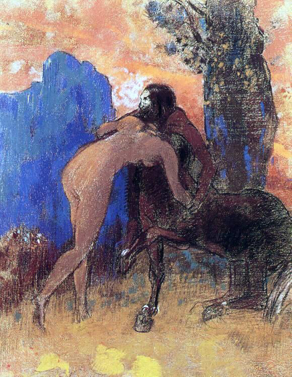 Odilon Redon Struggle between Woman and Centaur - Canvas Art Print