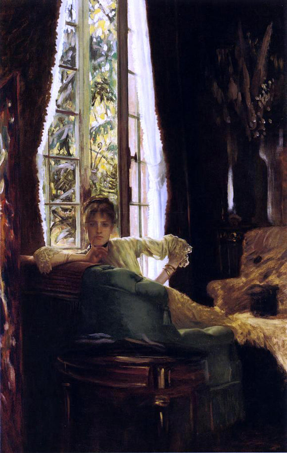 James Tissot Study for (also known as Woman in an Interior) - Canvas Art Print
