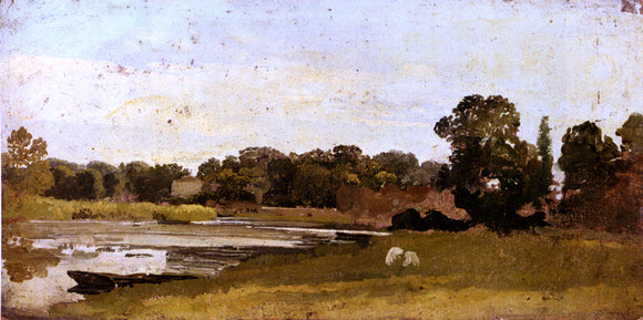 John Linnell Study Of A River Landscape - Canvas Art Print