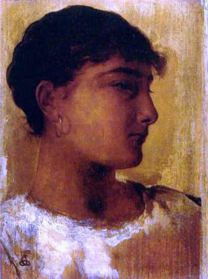 Edwin Longsden Long Study of a Young Girls Head, another view - Canvas Art Print