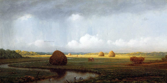 Martin Johnson Heade Sudden Shower, Newbury Marshes - Canvas Art Print
