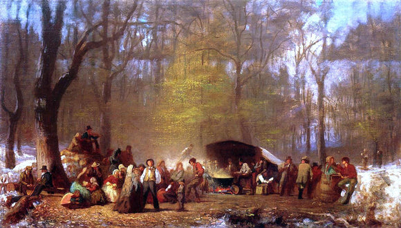 Eastman Johnson Sugaring Off at the Camp, Fryeburg, Maine - Canvas Art Print