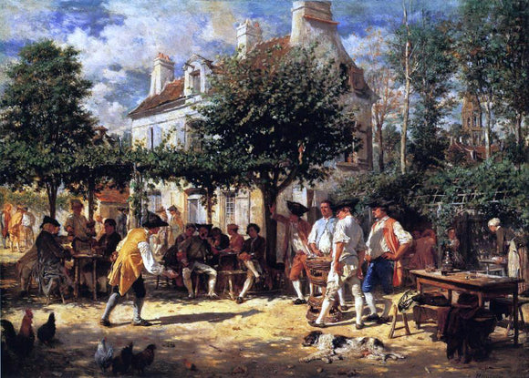 Jean-Louis Ernest Meissonier Sunday in Poissy - Canvas Art Print
