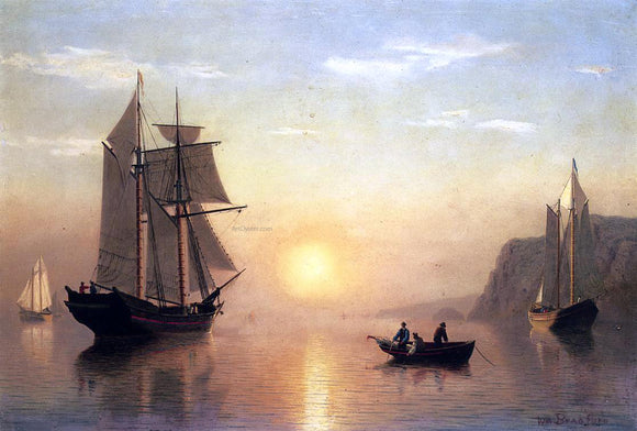 William Bradford Sunset Calm in the Bay of Fundy - Canvas Art Print