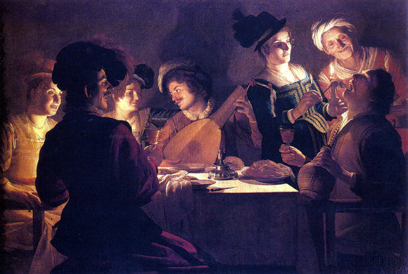 Gerrit Van Honthorst Supper With The Minstrel And His Lute - Canvas Art Print