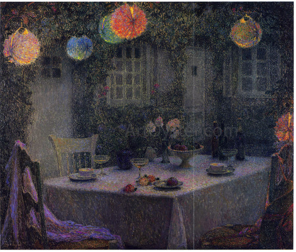 Henri Le Sidaner Table with Lanterns in Gerberoy - Canvas Art Print
