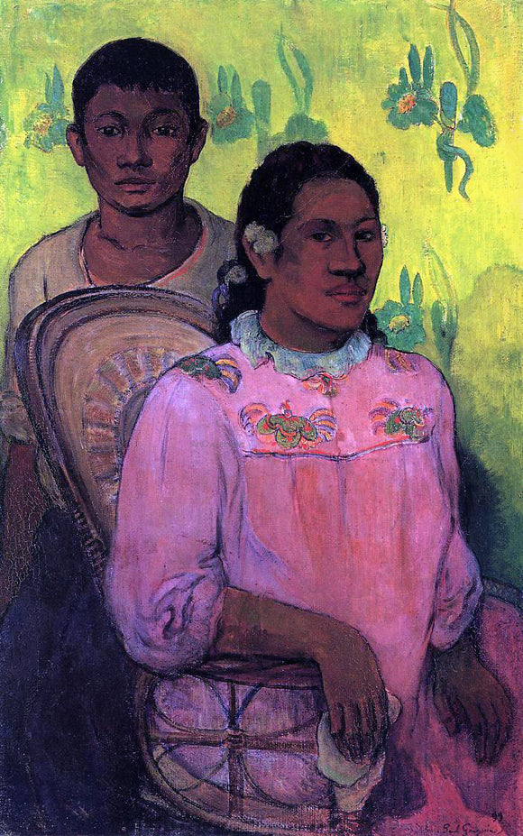 Paul Gauguin Tahitian Woman and Boy - Canvas Art Print