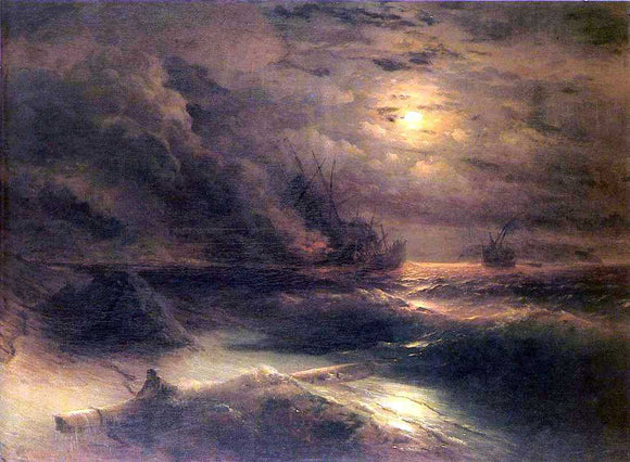 Ivan Constantinovich Aivazovsky Tempest by Cape Aiya - Canvas Art Print