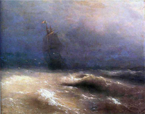 Ivan Constantinovich Aivazovsky Tempest by Coast of Nice - Canvas Art Print
