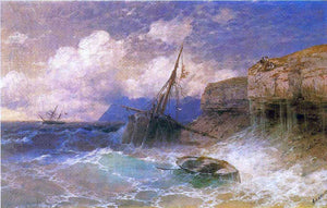 Ivan Constantinovich Aivazovsky Tempest by Coast of Odessa - Canvas Art Print