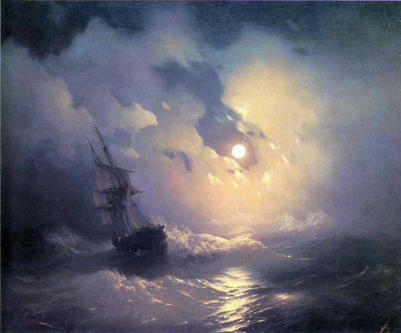 Ivan Constantinovich Aivazovsky Tempest on the Sea at Night - Canvas Art Print