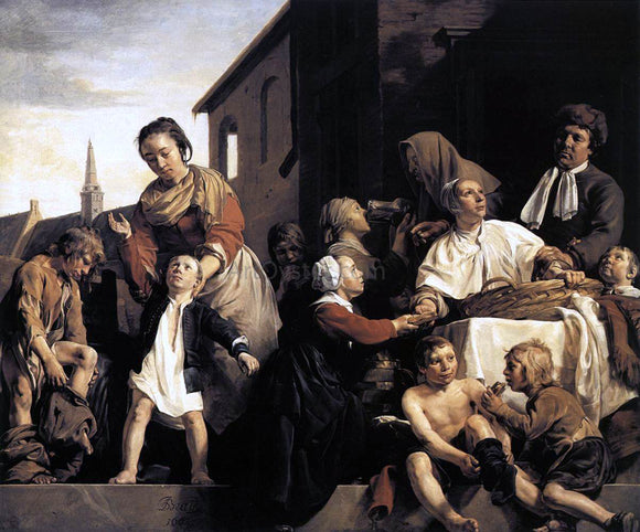 Jan De Bray Tending Children at the Orphanage in Haarlem - Canvas Art Print