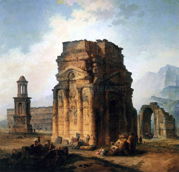 Hubert Robert The Arc de Triomphe and the Theatre of Orange - Canvas Art Print