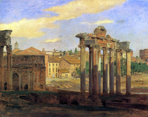 Constantin Hansen The Arch of Septumius Severus and the Temple of Concord - Canvas Art Print
