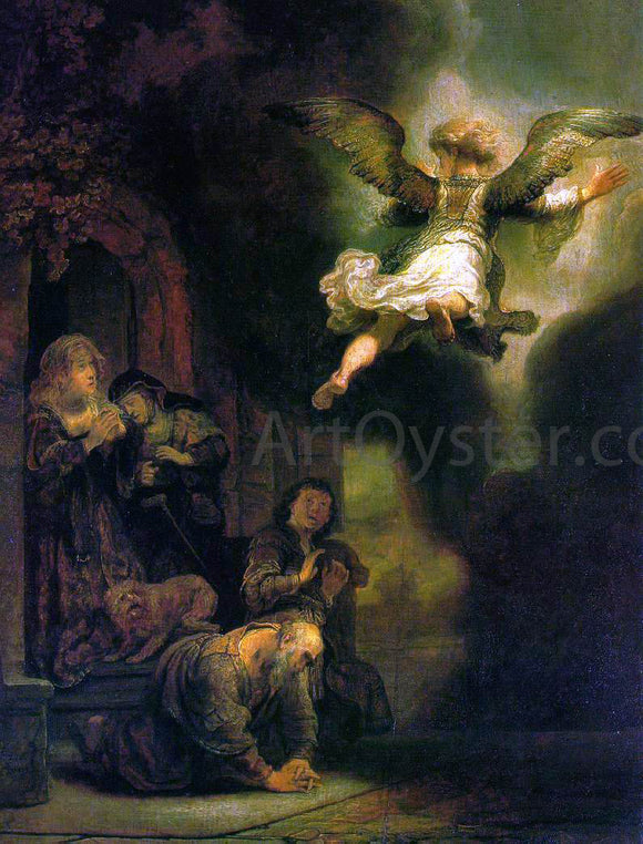 Rembrandt Van Rijn The Archangel Leaving the Family of Tobias - Canvas Art Print