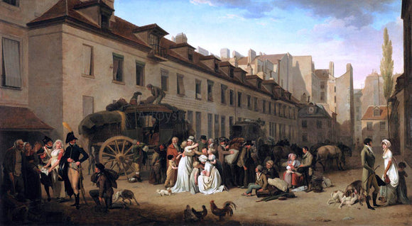 Louis Leopold Boilly The Arrival of a Stage-Coach in the Courtyard of the Messageries - Canvas Art Print