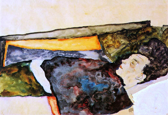 Egon Schiele The Artist's Mother, Sleeping - Canvas Art Print