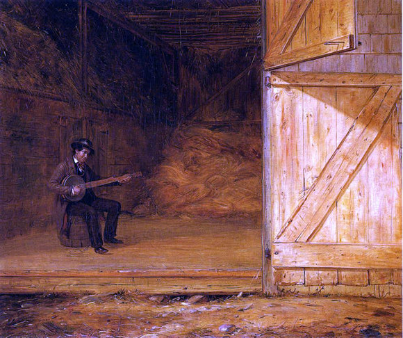 William Sidney Mount The Banjo Player in the Barn - Canvas Art Print