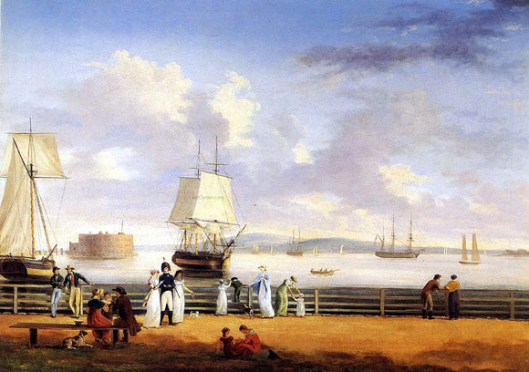 Thomas Birch The Battery and Harbor, New York - Canvas Art Print