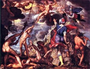 Joachim Wtewael The Battle Between the Gods and the Titans - Canvas Art Print
