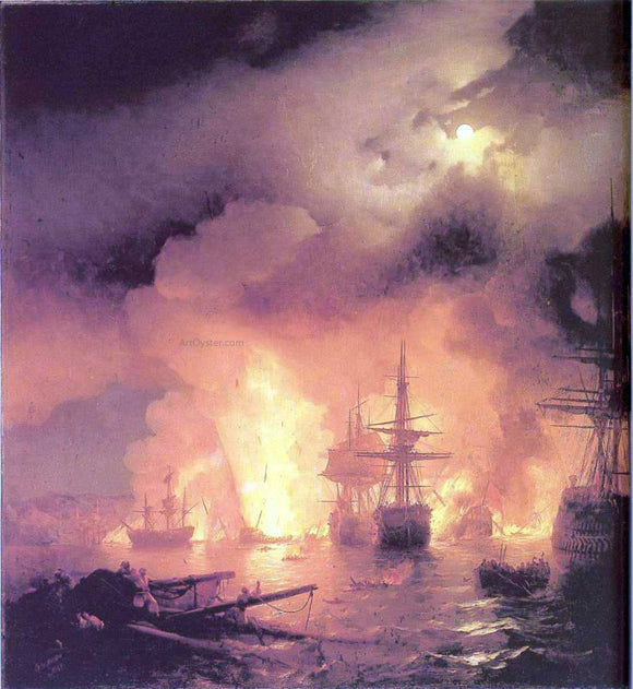 Ivan Constantinovich Aivazovsky The Battle of Chesme - Canvas Art Print