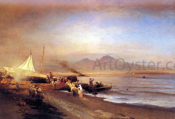 Oswald Achenbach The Bay of Naples - Canvas Art Print