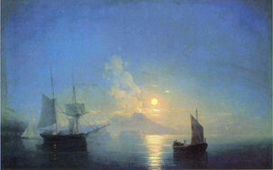 Ivan Constantinovich Aivazovsky The Bay of Naples by Moonlight - Canvas Art Print