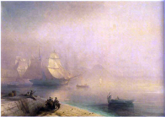 Ivan Constantinovich Aivazovsky The Bay of Naples on misty morning - Canvas Art Print