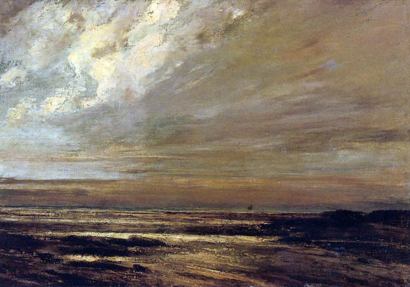 Gustave Courbet The Beach at Trouville at Low Tide - Canvas Art Print