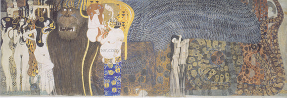 Gustav Klimt The Beethoven Frieze the Hostile Powers Far Wall - Canvas Art Print