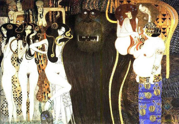 Gustav Klimt The Beethoven Frieze the Hostile Powers Left Part Detail  - Canvas Art Print