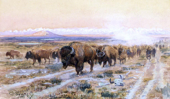 Charles Marion Russell The Bison Trail - Canvas Art Print