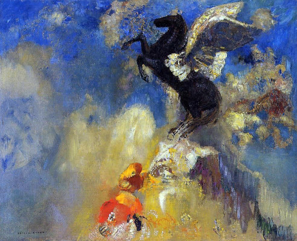 Odilon Redon The Black Pegasus - Canvas Art Print