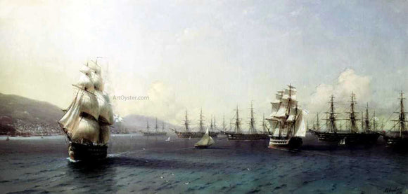 Ivan Constantinovich Aivazovsky The Black Sea fleet in Feodosiya - Canvas Art Print