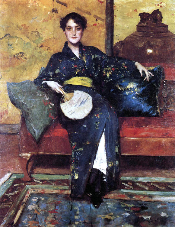 William Merritt Chase The Blue Kimono (also known as Girl in Blue Kimono) - Canvas Art Print