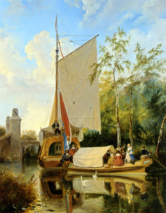 Wijnandus Josephus Nuyen The Boating Party - Canvas Art Print